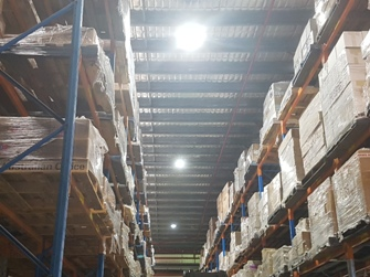 LED HighBays installed in a warehouse